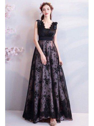 Elegant Formal Long Black Lace Prom Dress A Line Sleeveless