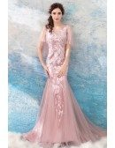Charming Pink Lace Mermaid Tight Prom Dress With Cape Sleeves