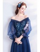 Navy Blue Off Shoulder Maxi Long Tulle Prom Dress With Sleeves