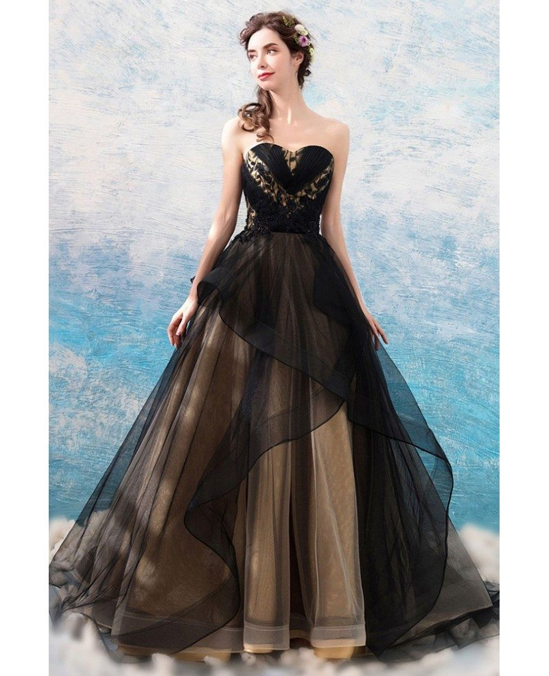 Fancy Black Ruffles Ball Gown Tulle Formal Dress Strapless Wholesale T69251 Gemgrace Com