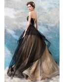 Fancy Black Ruffles Ball Gown Tulle Formal Dress Strapless
