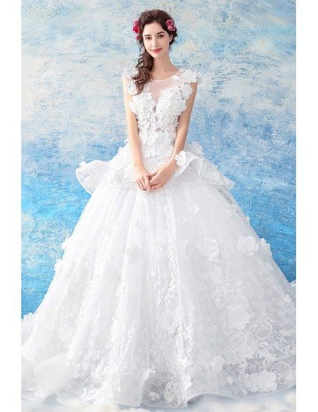 Dreamy Flowers Big Ball Gown Wedding Dress Sleeveless