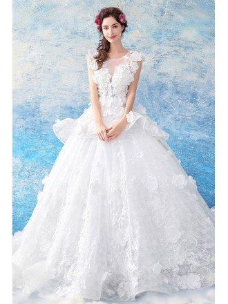 Dreamy Flowers Big Ball Gown Wedding Dress Sleeveless