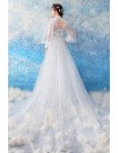 Charming Mermaid Long Tulle Slim Wedding Dress With Long Sleeves