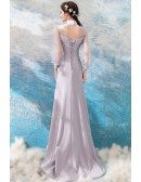 Classy Long Grey Satin Formal Dress With Sheer Long Sleeves