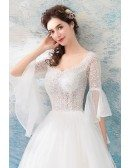 Special Sheer Top Ball Gown Wedding Dress With Bling Bell Sleeves