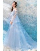 Fairy Blue Long Tulle Flowers Prom Dress A Line With Sleeves