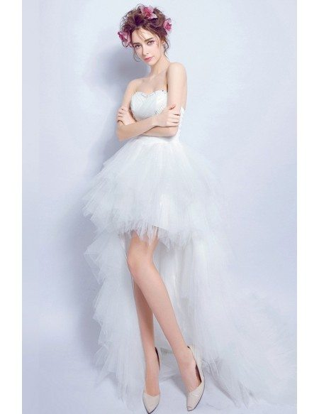 Chic High Low Tulle Wedding Dress Strapless With Beading