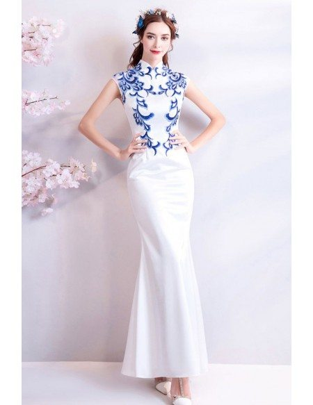 Retro Cheongsam White With Blue Tight Formal Dress With Embroidery