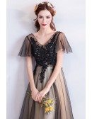 Vintage Long Black Tulle Empire Prom Dress With Lace Sleeves