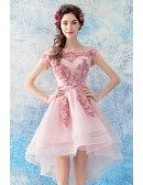 Cute Pink Tulle Lace High Low Prom Dress Short Off Shoulder