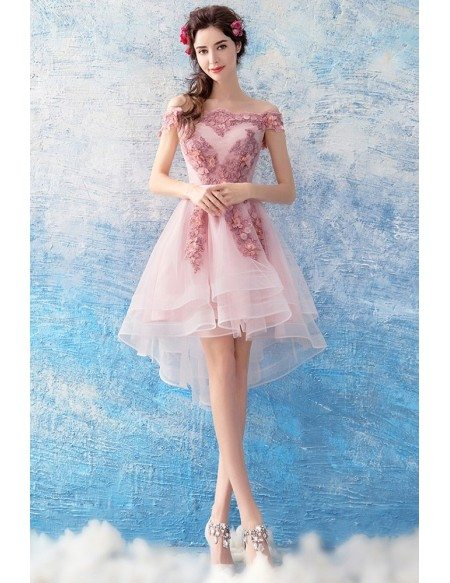many fashionable new lifestyle elegant shoes Cute Pink Tulle Lace High Low Prom Dress Short Off Shoulder Wholesale  #T69263 - GemGrace.com