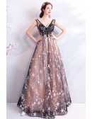 Sexy V-neck Black Tulle Long A Line Prom Dress With Stars