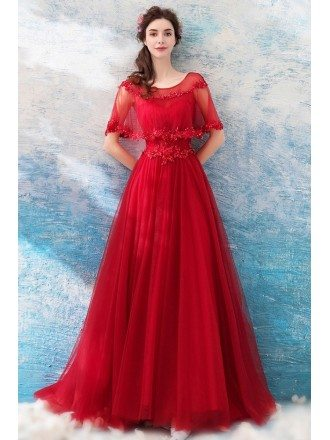 Long Red A Line Elegant Tulle Wedding Party Dress With Cape