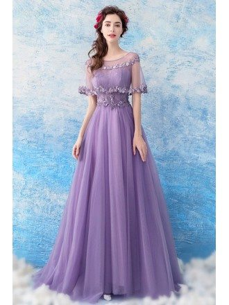 Elegant Purple Long Tulle Prom Formal Dress With Beaded Cape