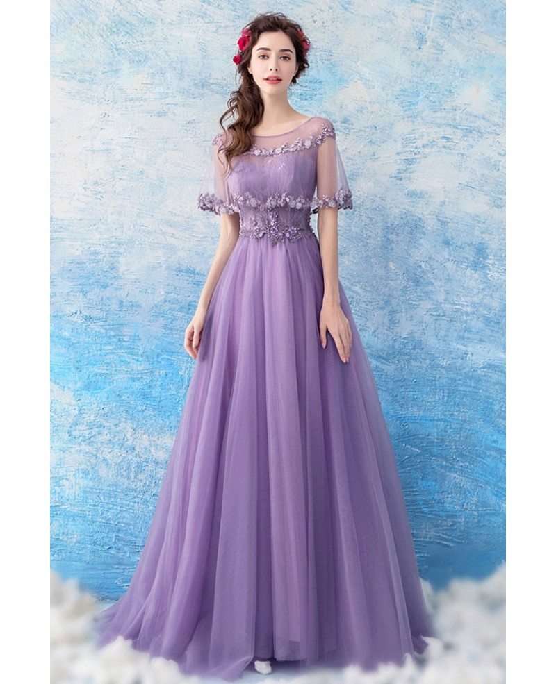 Formal Gowns: Elegant Purple Long Tulle Prom Formal Dress With Beaded