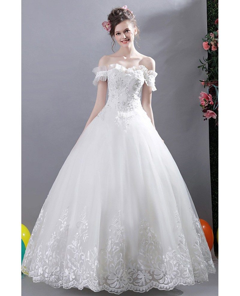Wedding Dress White Vs Off White: Gorgeous White Lace Trim Ball Gown Wedding Dress Off