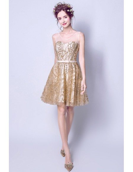 Sparkly Gold Shinning Short Party Dress With Keyhole Back