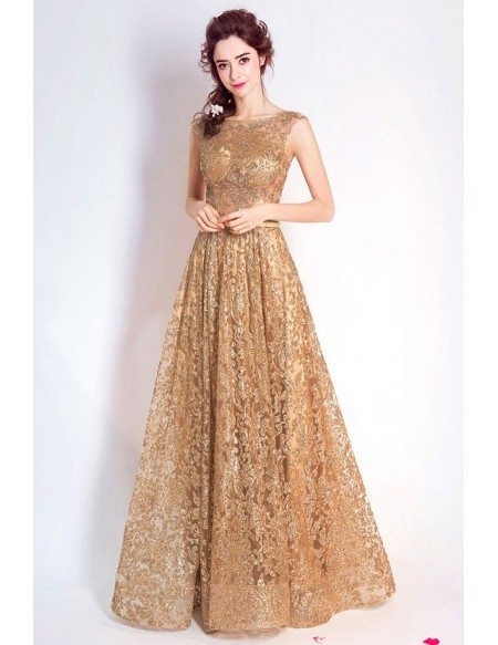 Luxury Gold Sparkly Lace A Line Formal Dress Sleeveless