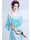 Dreamy Butterfly Blue Long Train Prom Dress With Lace Cape
