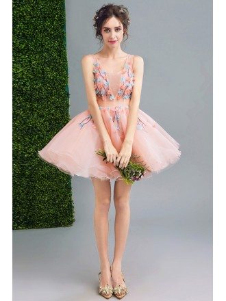 Super Cute Pink Floral Tutus Short Prom Dress Tulle With Flowers