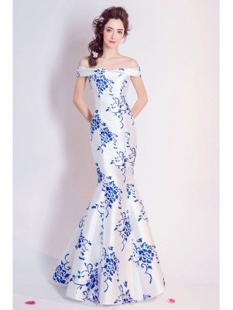 Special White With Blue Tight Mermaid Prom Dress Off Shoulder