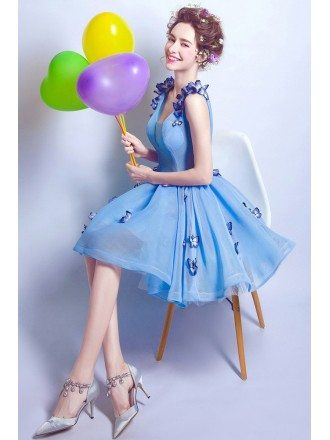 Fairytale Blue Tulle Butterfly Prom Dress Short With Lace Up