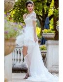 Unique Long Train High Low Beach Wedding Dress Ruffled With Cap Sleeves