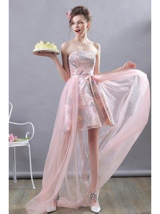 Super Cute Pink High Low Party Dress Strapless With Tulle