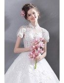 Retro High Collar Court Ball Gown Wedding Dress Lace With Sleeves