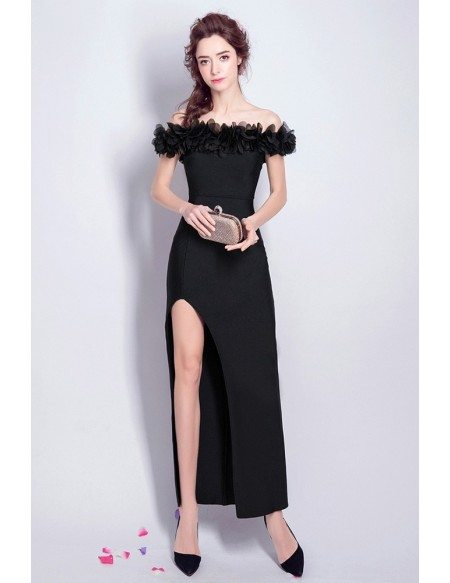 Sexy Off Shoulder Black Maxi Party Dress With Slit Front