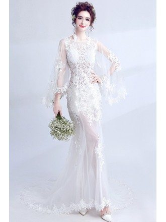 Stunning See Through Lace Boho Wedding Dress With Cape Sleeves