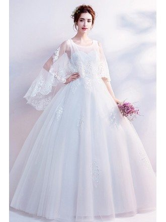 Dreamy Lace Cape Sleeves Big Ball Gown Wedding Dress Wholesale Price