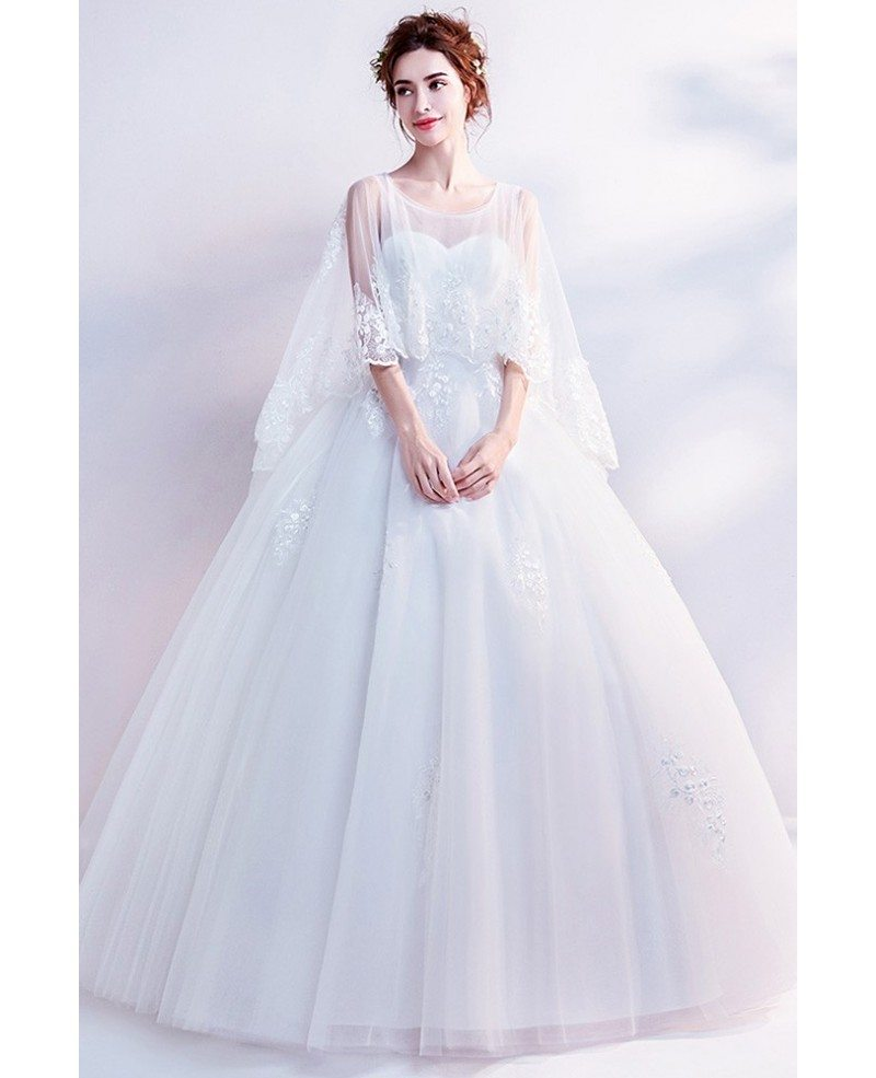 Dreamy Lace Cape Sleeves Big Ball Gown Wedding Dress