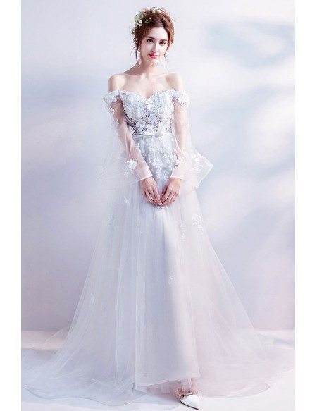 Off Shoulder Long Tulle A Line Boho Wedding Dress With Flowers