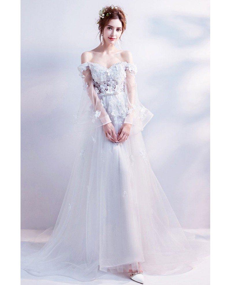 Off Shoulder Long Tulle A Line Boho Wedding Dress With Flowers Wholesale T69291 Gemgrace Com