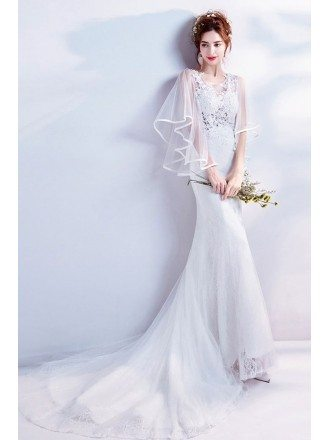 Fairy Butterfly Sleeve Slim Mermaid Wedding Dress With Train