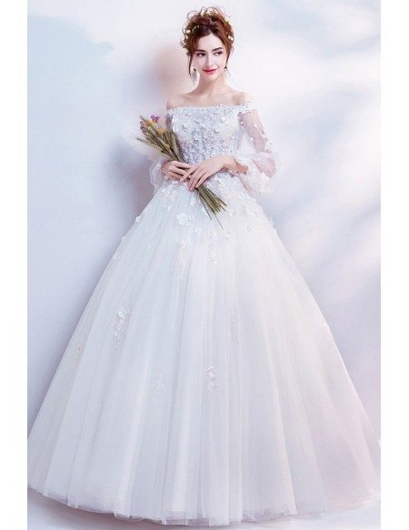 Dreamy Flowers Tulle Sleeve Ball Gown Wedding Dress With Beading
