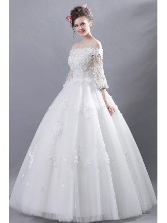 Off Shoulder Tulle Ball Gown Wedding Dress With Flower Sleeves