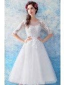 Retro Tea Length Tulle Wedding Reception Dress With Half Sleeves