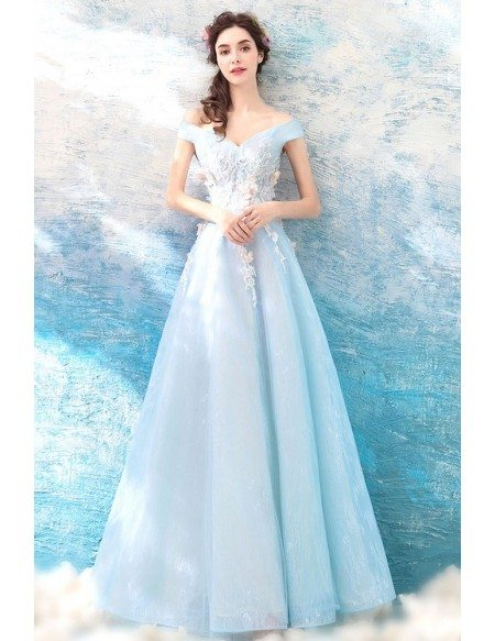 Prom Dress Long Tulle With Off Shoulder
