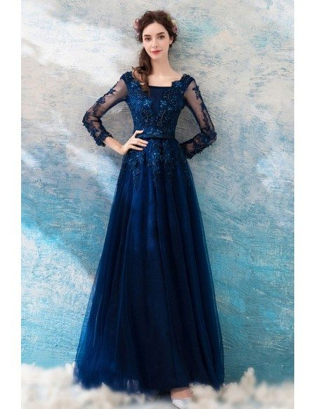 Dark Navy Blue Beaded Lace Long Prom Dress Tulle With Long Sleeves Wholesale T69298 Gemgracecom