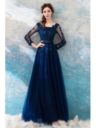 Dark Navy Blue Beaded Lace Long Prom Dress Tulle With Long Sleeves