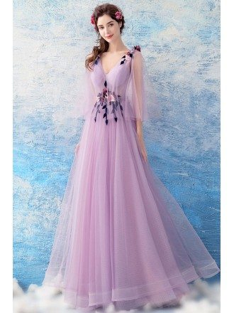 Beautiful Purple A Line Long Prom Dress V-neck With Sleeves