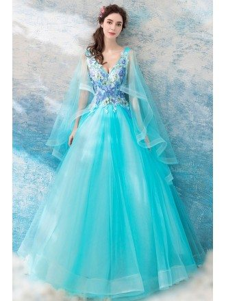 Aqua Blue Ballroom Pageant Formal Dress With Cape For Quinceanera