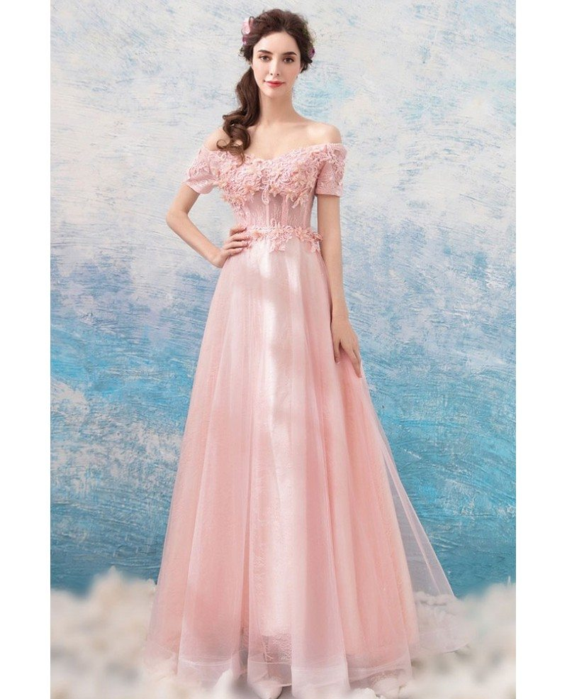 Long Tulle Lace Formal Prom Dress