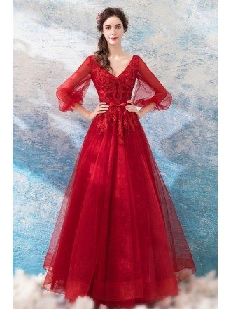 Elegant Long Puff Sleeves Red Lace Party Dress With Sparkle Beading