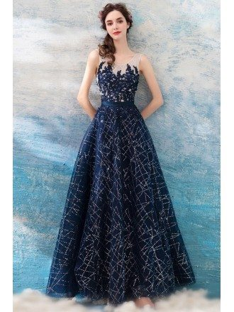 Sparkly Sequin Navy Blue Long Prom Dress With Lace Bodice