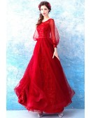 Beautiful Red Sequin Wedding Party Dress With Flare Sleeves