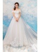 Illusion Ivory Long Off Shoulder Lace Wedding Dress With Train